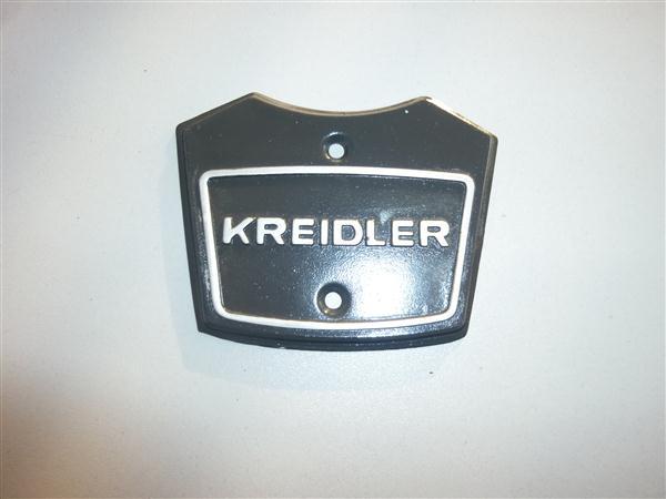 Balhoofd embleem op stuurplaat voor Kreidler florett model 1968 t/m 1972 kleur Antraciet