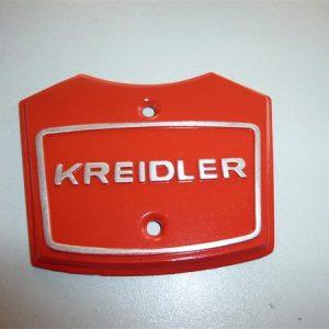 Balhoofd embleem op stuurplaat voor Kreidler florett model 1968 t/m 1972 kleur Rood